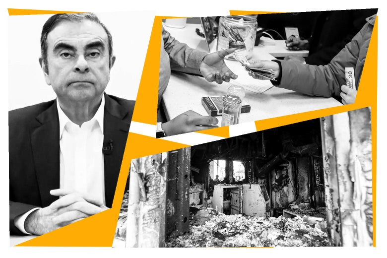 Carlos Ghosn, hands exchanging money for marijuana, and the damaged entrance to the U.S. Embassy in Baghdad