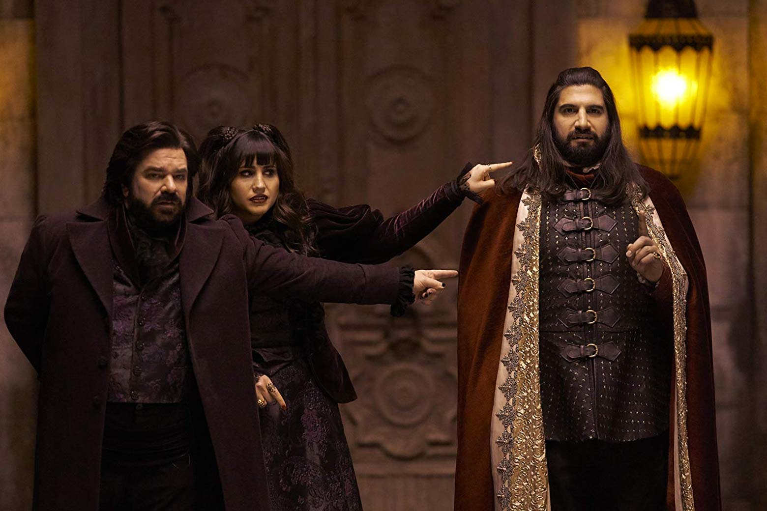 Matt Berry, Natasia Demetriou, and Kayvan Novak as the vampires Laszlo, Nadja, and Nandor.