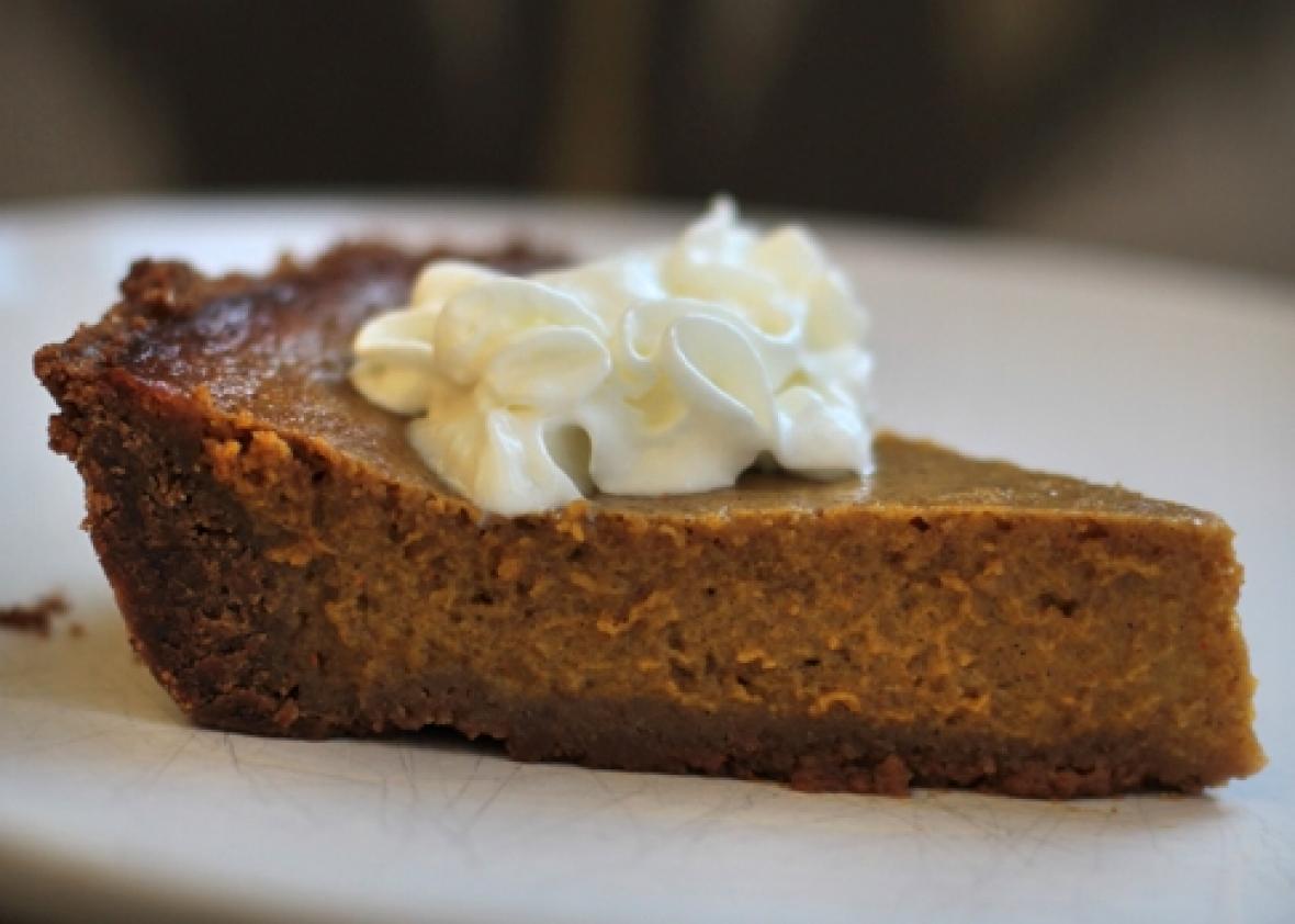 Thanksgiving Pumpkin Pie With Gingersnap Crust.