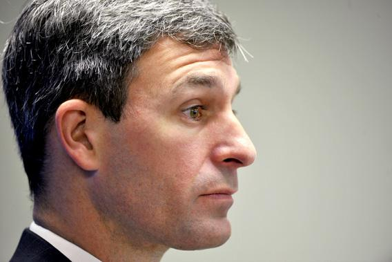 Ken Cuccinelli, Attorney General of Virginia, meets with local business leaders during a luncheon at the Fairfax county Chamber of Commerce on June, 24, 2010 in Vienna, VA.