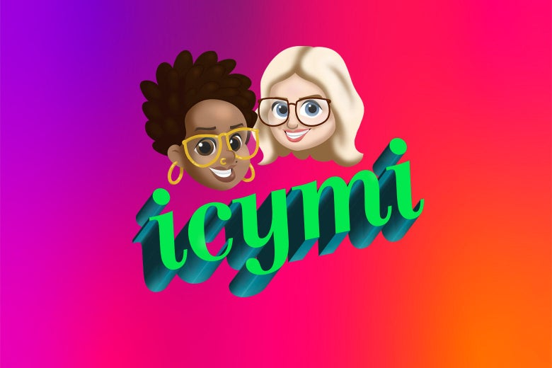 """A podcast logo in the neon-green style of the """"lol nothing matters GIF"""" reads ICYMI. Above it, emoji-style illustrations of the hosts, smiling, against a neon-pink background."""