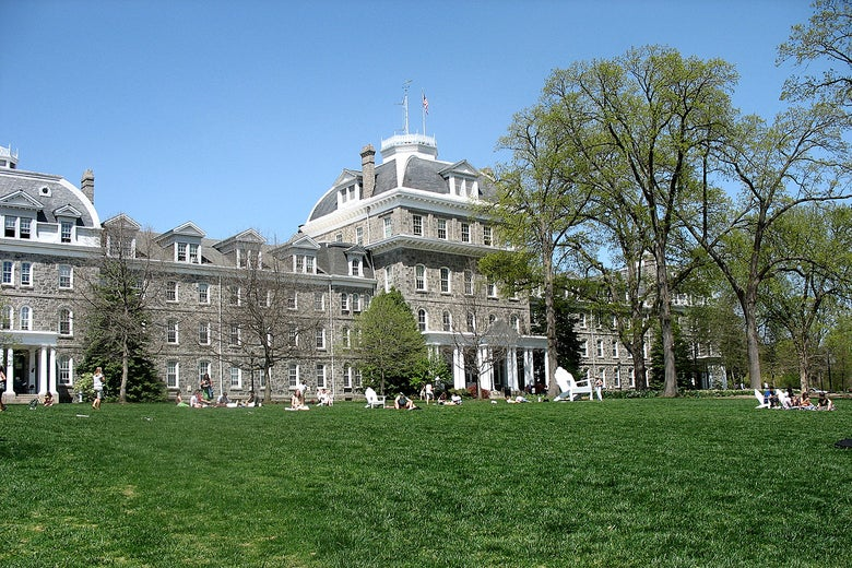 Parrish Hall, at the center of the Swarthmore College campus.