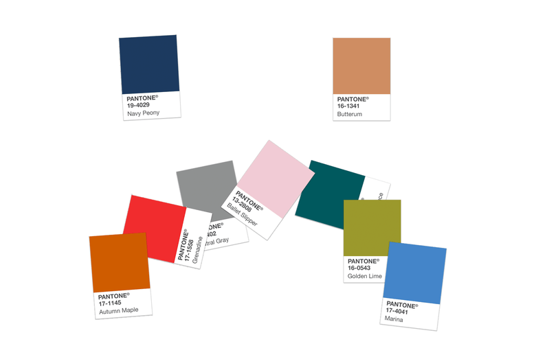 A bunch of Pantone colors forming a sad face