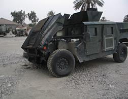 Whiskey Six's Humvee after it survived two ambushes one night in Ramadi, Iraq.