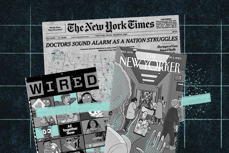 A New York Times front page and New Yorker and Wired magazine covers display coronavirus coverage.