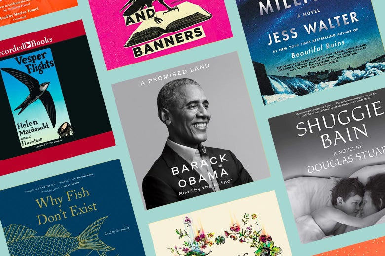 Book covers of A Promised Land, Shuggie Bain, Why Fish Don't Exist, and Vesper Flights.