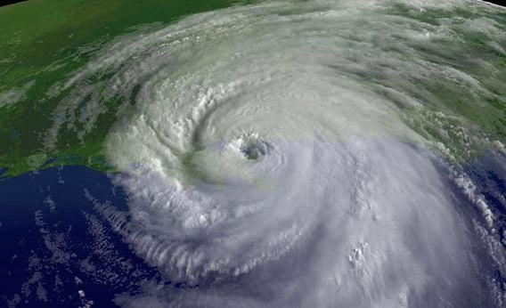 A satellite image of the center of Hurricane Katrina's rotation is seen at 9:45am EST on August 29, 2005 over southeastern Louisiana.