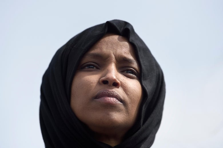 A close-up of Ilhan Omar.