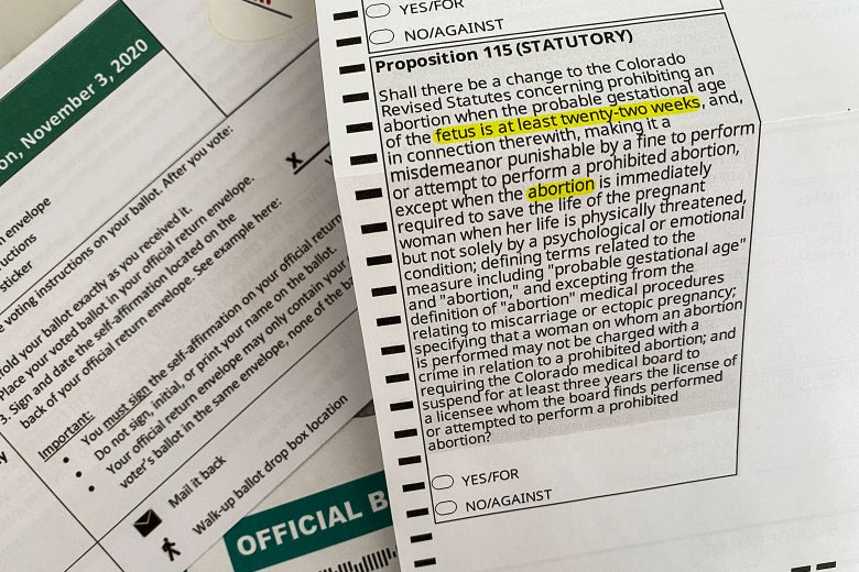 A Colorado voting ballot shows Prop 115, with certain words highlighted.