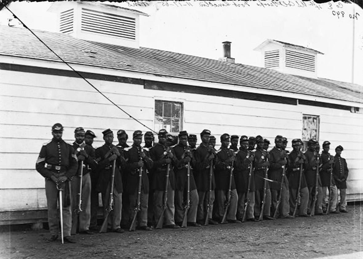 District of Columbia. Company E, 4th U.S. Colored Infantry, at Fort Lincoln [Between 1863 and 1866].