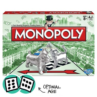Monopoly with dice showing 12 as the optimal age for the game.