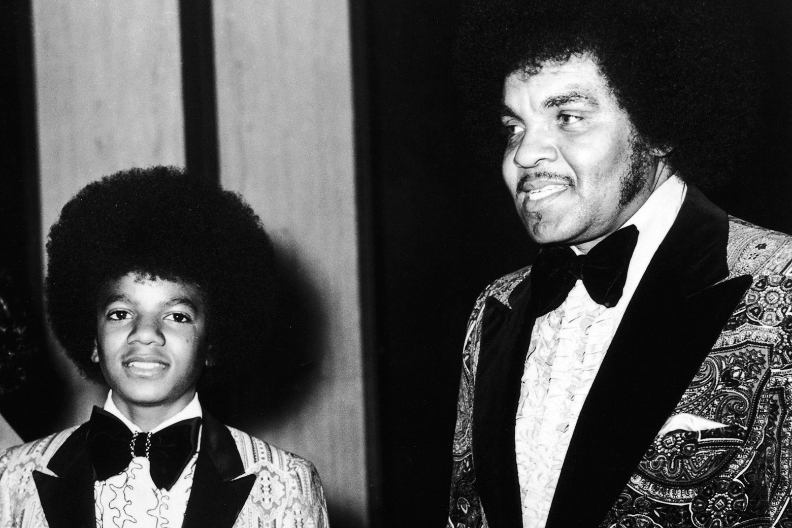 Michael Jackson and his father, Joe Jackson, at the Golden Globes.