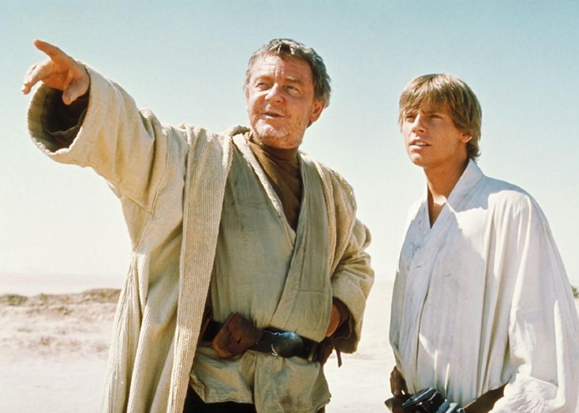 Uncle Owen talks to Luke Skywalker in this promotional photo from Star Wars, later retitled Star Wars: Episode IV: A New Hope, even before the term Special Edition was invented