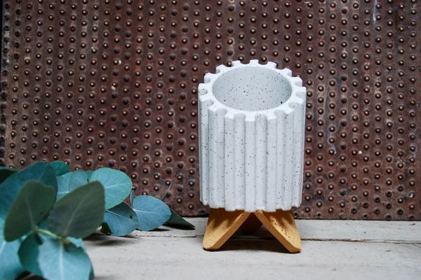 Dustin Gimbel Pottery Beveled Cog Planter in Matte Vanilla Bean