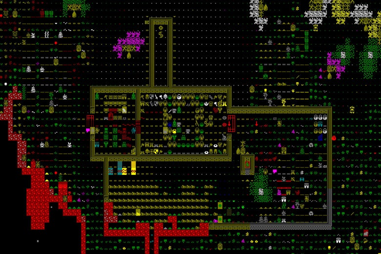 Screenshot of Dwarf Fortress.