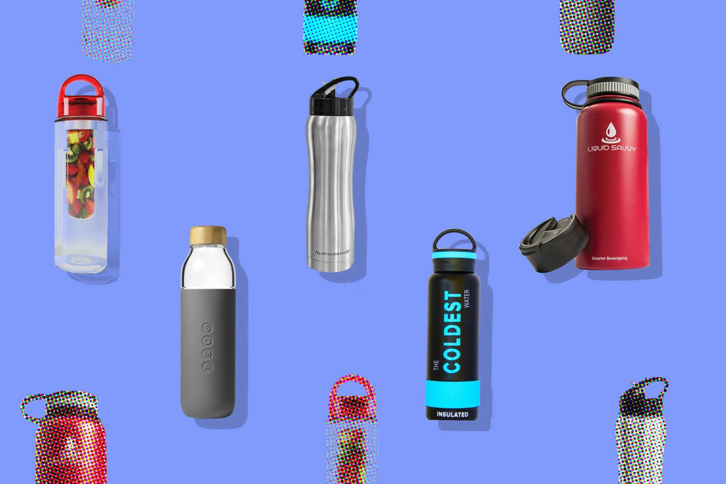 Collage of various water bottles.