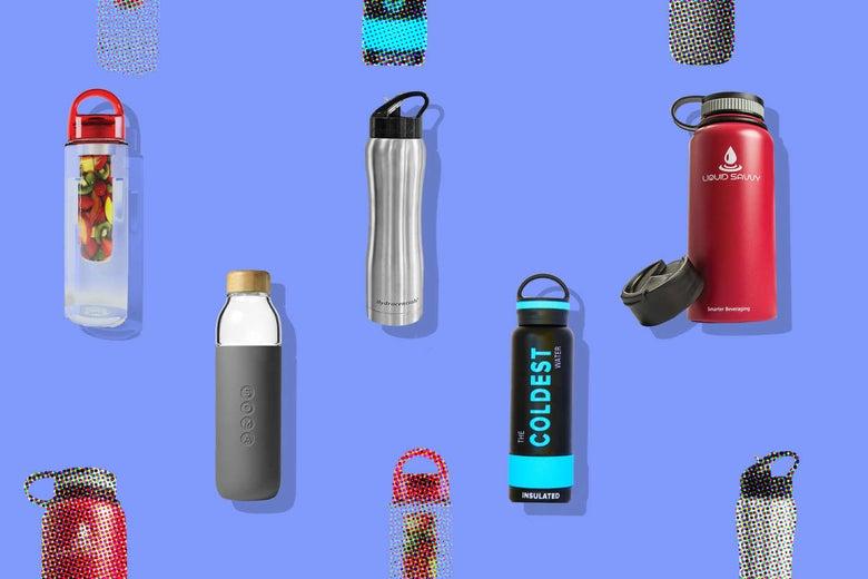 Collage of various water bottles.
