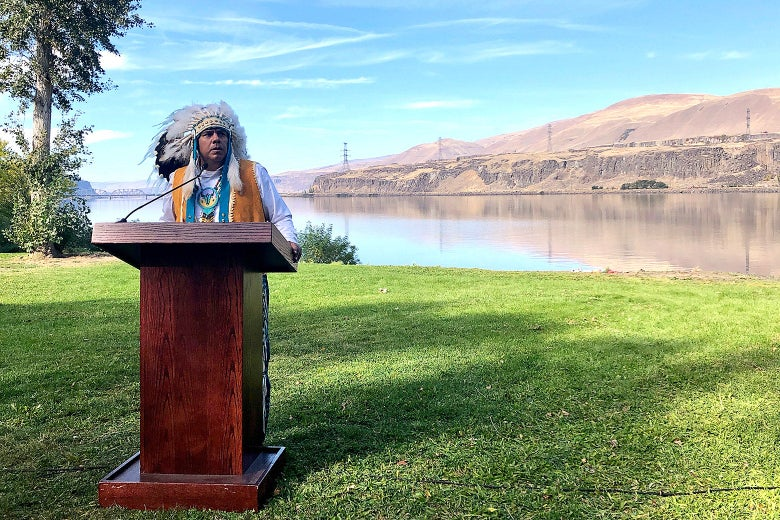 JoDe Goudy, chairman of the Yakama Nation, speaks with the Columbia River in the background near The Dalles, Oregon, on Oct. 14, 2019.