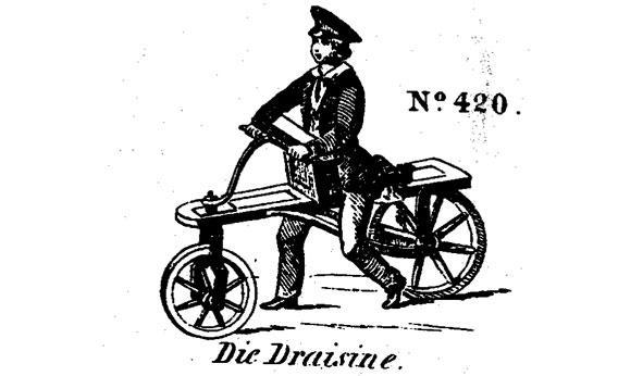 This image of a child on a draisine is taken from an 1857 agricultural machinery catalog of Anton Burg & Sohn, published in Vienna.