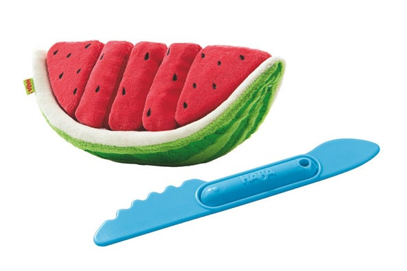 Haba Plush Watermelon With 5 Velcro Slices.