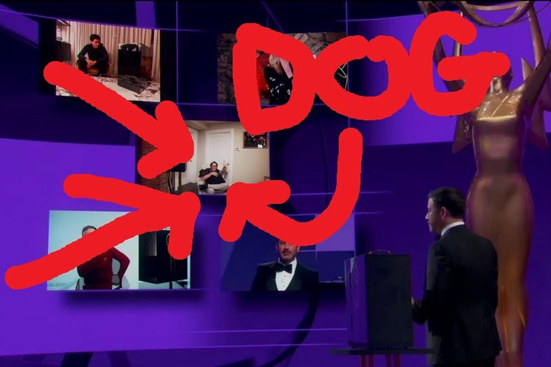 The same image as above of Kimmel addressing the nominees for Outstanding Talk Show, but this time a giant red arrow points out Stephen Colbert's dog.
