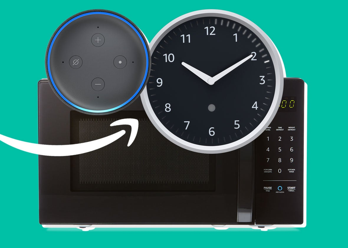 Amazon Echo Dot, Microwave, and Wall Clock
