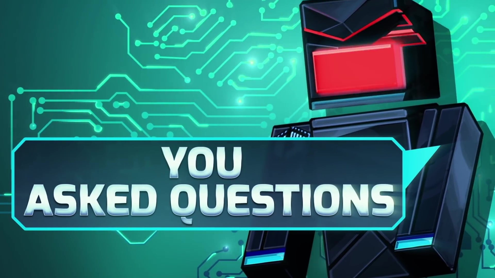 "A big video game robot saying ""You Asked Questions"" in a speech bubble."