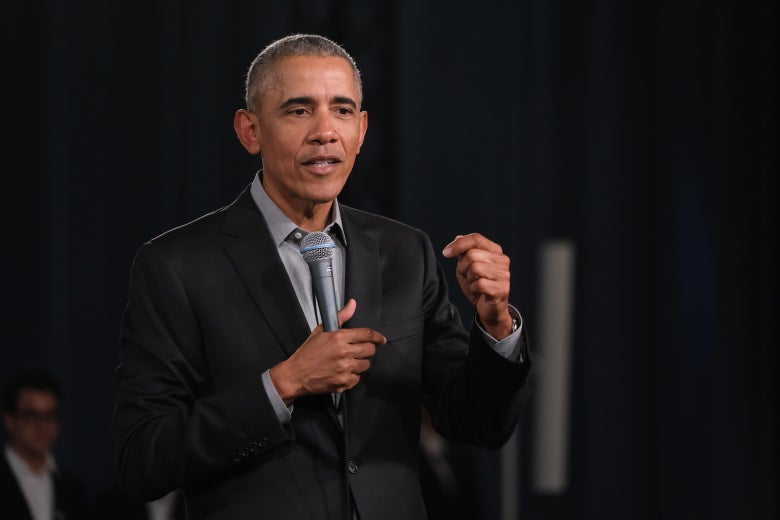 Former President Barack Obama speaks to young leaders from across Europe in a Town Hall-styled session on April 6, 2019 in Berlin, Germany.