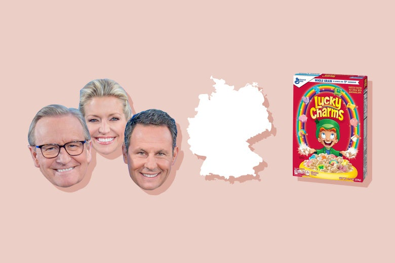 The Fox & Friends hosts, the outline of Germany, and a box of Lucky Charms.