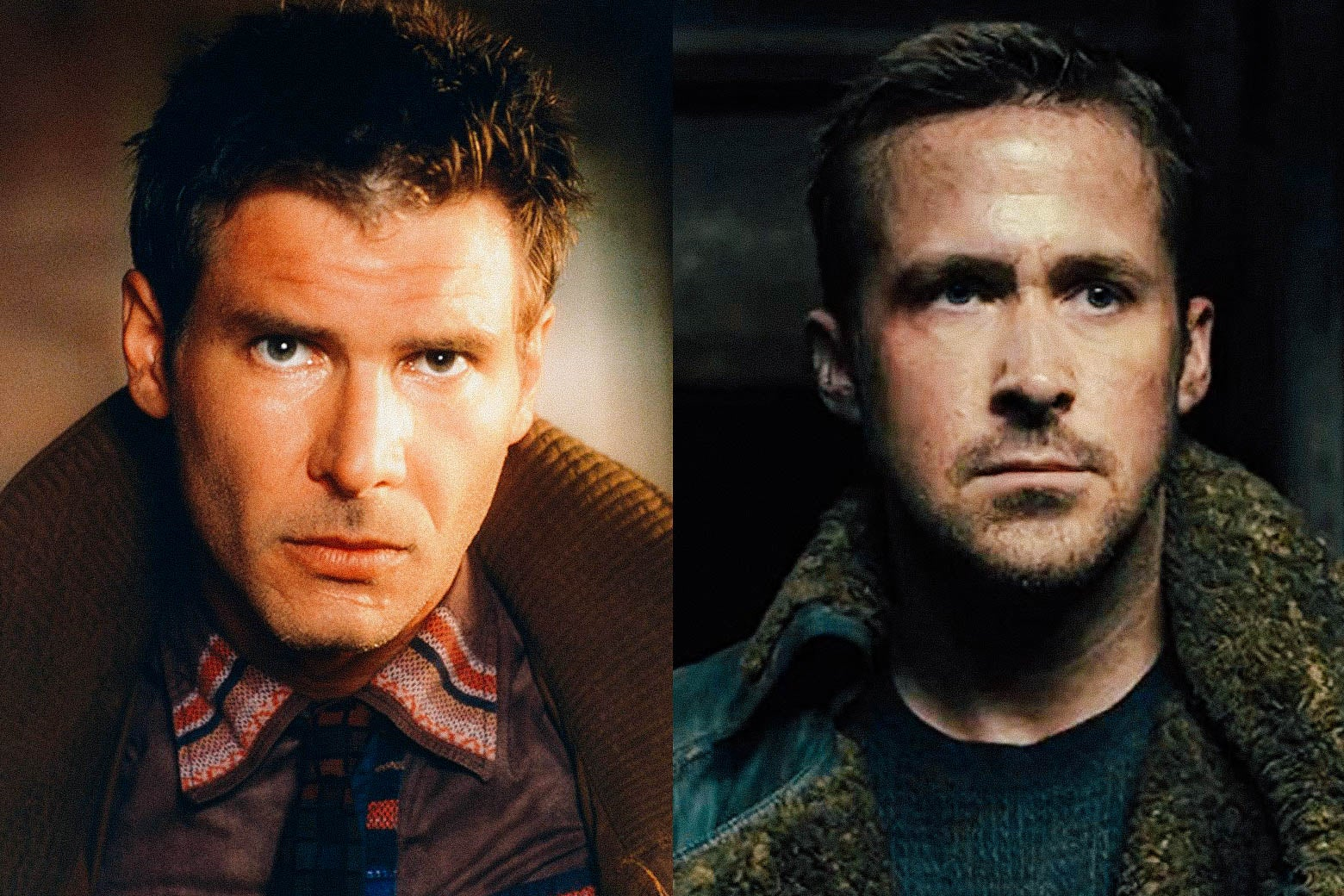 Side by side photos of Harrison Ford and Ryan Gosling in their respective Blade Runner roles.