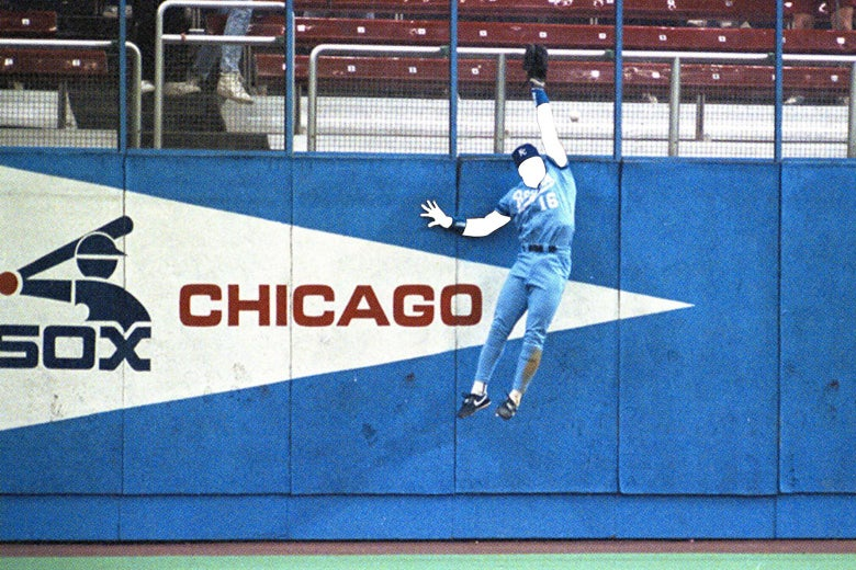 Bo Jackson from his time on the Royals jumping and grabbing a home run over the wall, with his face taken away and a blank white space