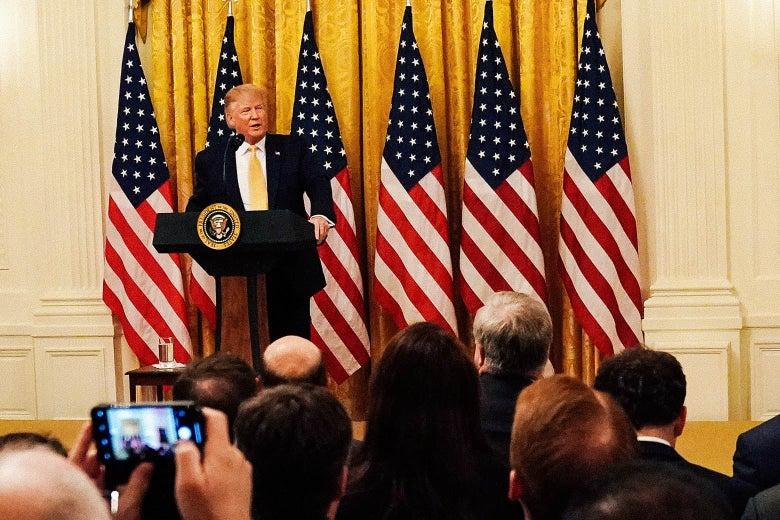 "U.S. President Donald Trump at the ""Presidential Social Media Summit"" on July 11 in Washington."