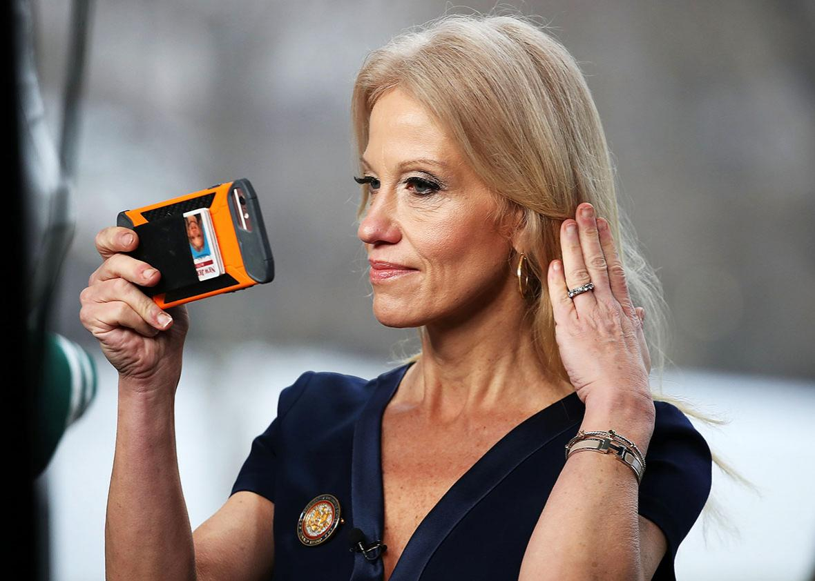 Counselor to President, Kellyanne Conway, prepares to appear on the Sunday morning show Meet The Press, from the north lawn at the White House, January 22, 2017 in Washington, DC.