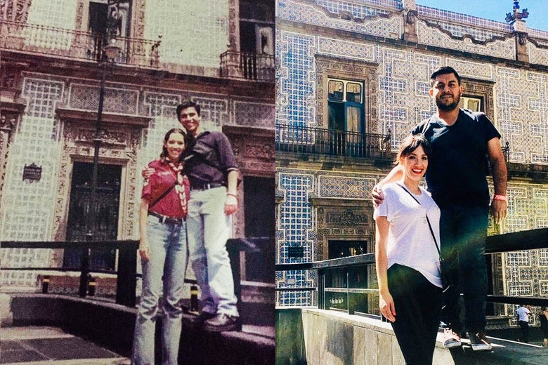 Side-by-side photos of the couple standing in the same spot as teens and as adults. Elliot puts one arm around Yadelle.