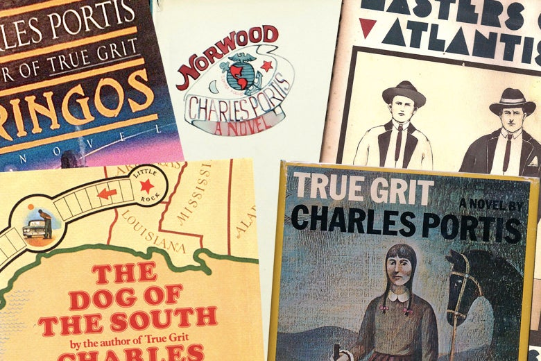 A collage of the first edition covers of Charle Portis novels: Gringos, The Dog of the South, Masters of Atlantis, True Grit, and Norwood.