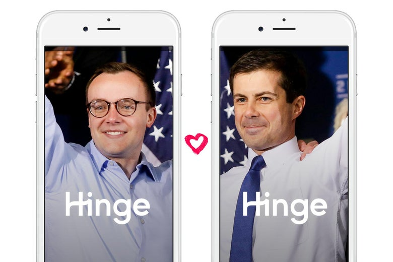 Chasten and Pete Buttigieg, shown on iPhones displaying the Hinge app.