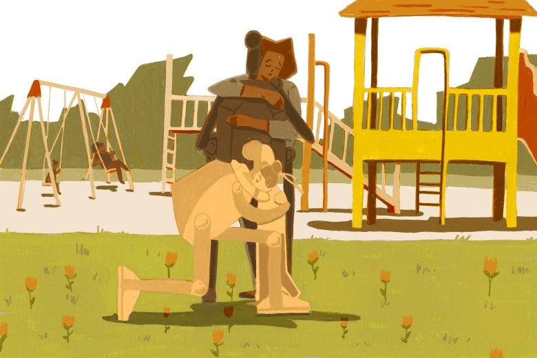 Illustration of a robot hugging a child in a playground.