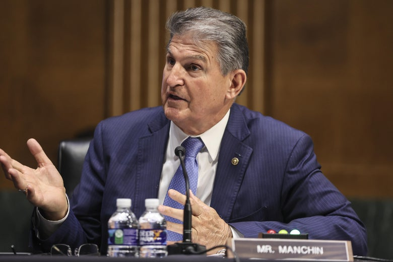 Sen. Joe Manchin speaks during a Senate Appropriations Committee hearing to examine the American Jobs Plan, focusing on infrastructure, climate change, and investing in our nations future on April 20, 2021 in Washington, D.C.