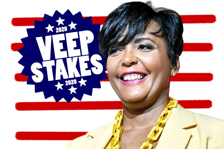"Keisha Lance Bottoms in front of a drawing of the American flag and text that says, ""2020 Veepstakes."""