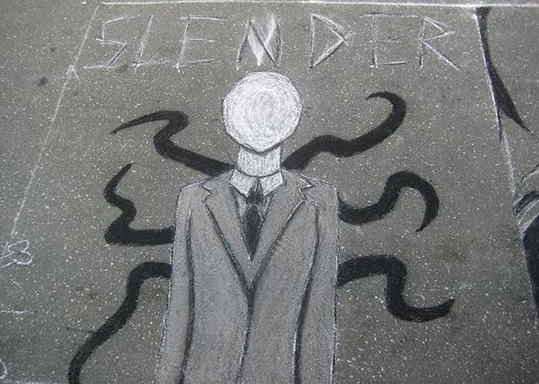 An anonymous graffito of the fictional Slender Man, drawn on a road in Raleigh, North Carolina.