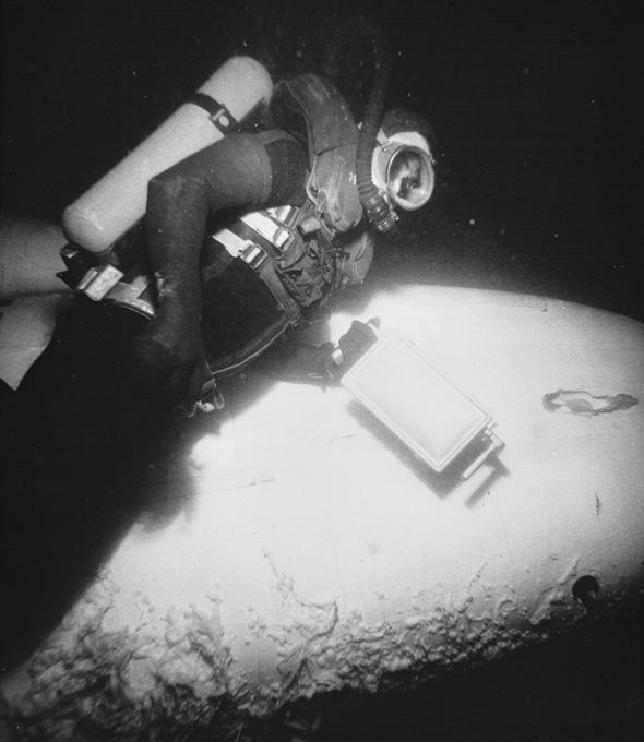 A Sealab II aquanaut does an underwater job during a two-week stay at the habitat in 1965 off the coast of San Diego, Calif.
