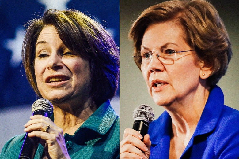 Side by side images of Amy Klobuchar and Elizabeth Warren both close up and talking into a microphone at a rally.