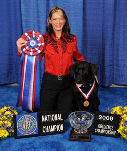 Petra Ford and Tyler at the American Kennel Club's National Obedience Invitational.