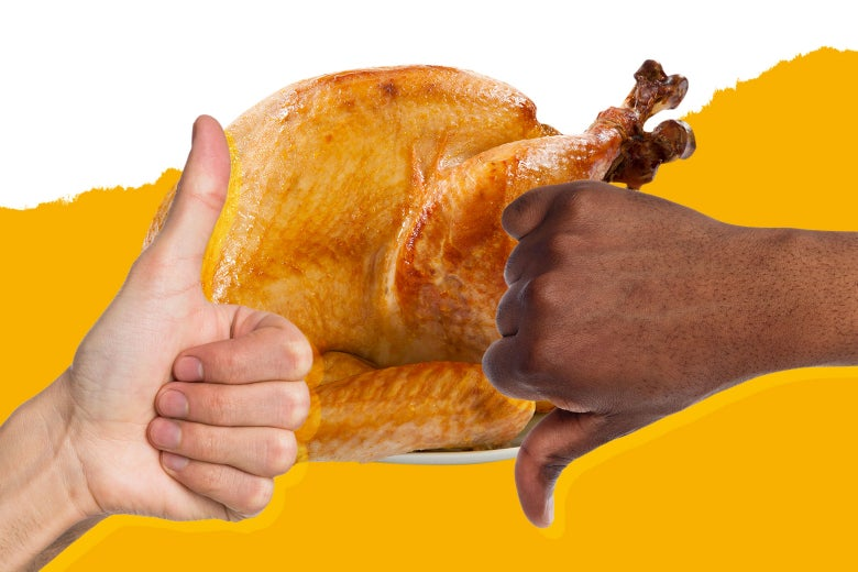 Someone giving a big snarky thumbs-down to a turkey next to someone giving a big goofy thumbs-UP to a turkey.