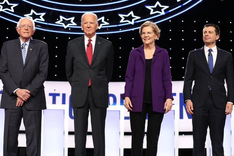 Bernie Sanders, Joe Biden, Elizabeth Warren, and Pete Buttigieg on the debate stage.