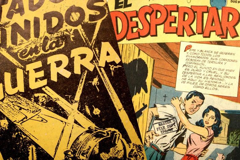 Foreign language pro-American comic books.