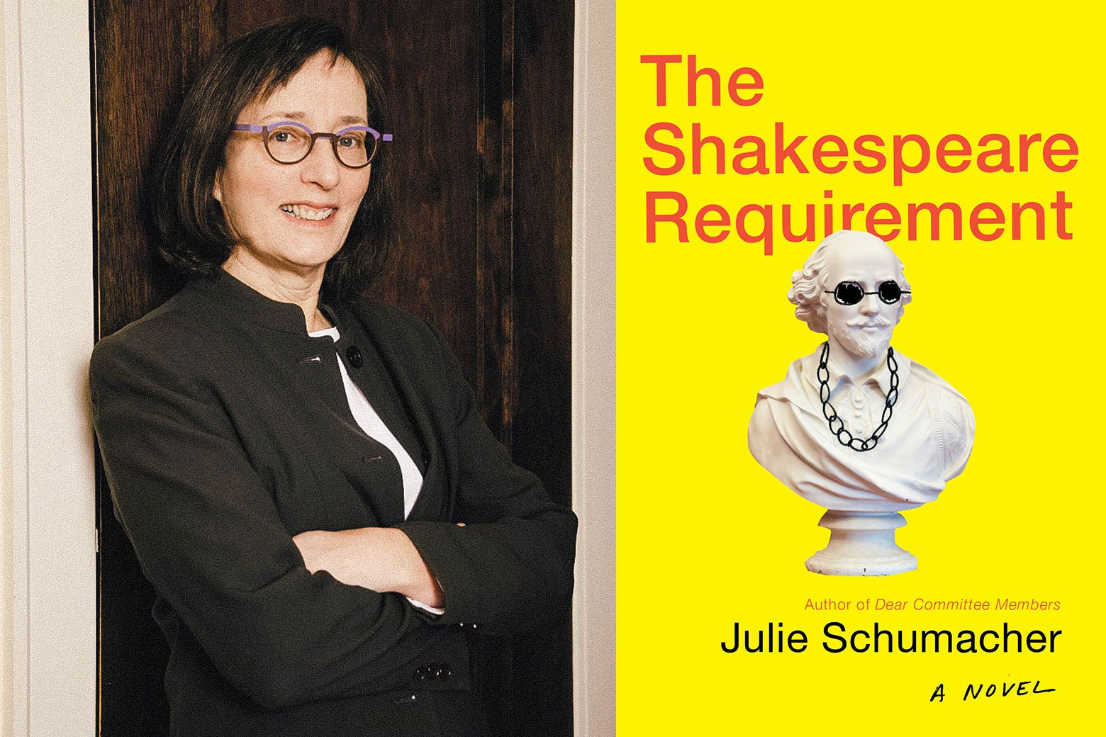Author Julie Schumacher and the cover of her new book, The Shakespeare Requirement.