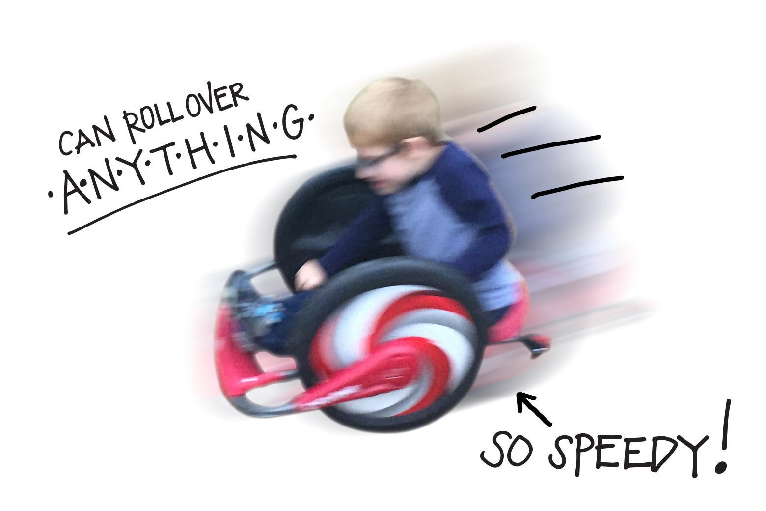 Child riding the Cyclone toy.