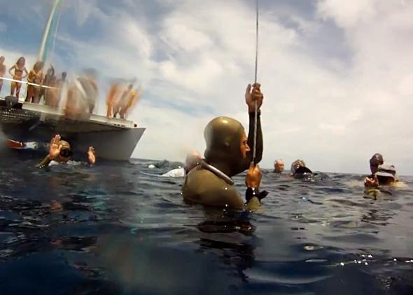 Nicholas Mevoli, the first American to break the self propelled 100 mt barrier, summer 2013.