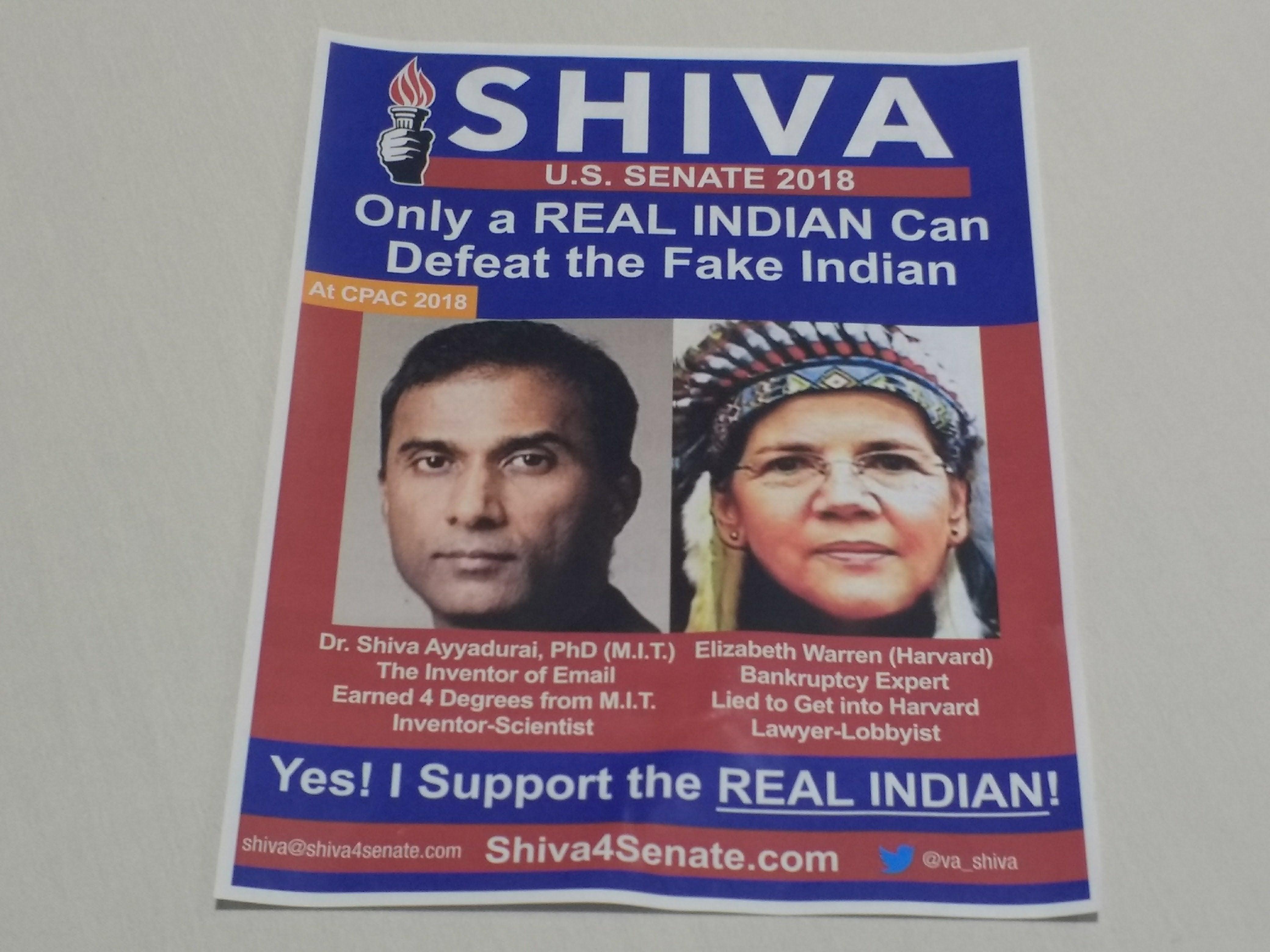 Shiva Ayyadurai is a former Republican independent running to unseat Elizabeth Warren in Massacussetts.
